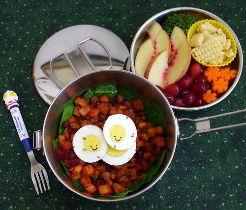 Beet Hash and Egg Bento by sherimiya ♥