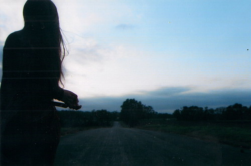 road camera old sunset sky sun film girl field clouds barn vintage dark hair scary women long minolta kodak farm ct s dirt 400 hartford somers srt conncecut