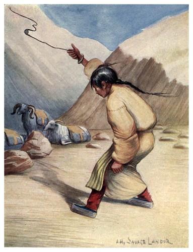 011-Mujer tibetana con una honda-Tibet & Nepal-1905-A. H. Savage-Landor