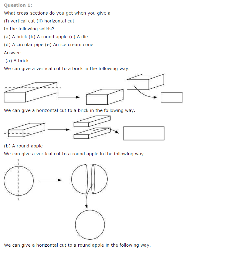 NCERT Solutions for Class 7th Maths Chapter 15 Visualising Solid Shapes Exercise 15.3
