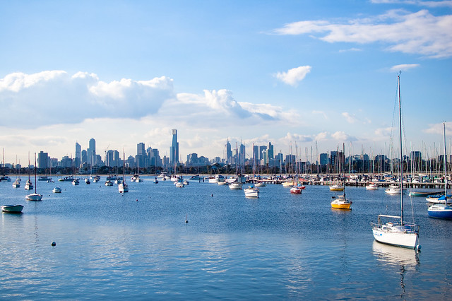 Melbourne skyline from st. Kilda