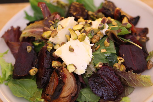 Roasted Beet and St. Nuage Salad with Roasted Onions and Pistachios