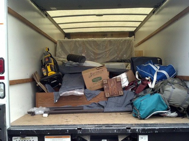 My truck filled with my stuff