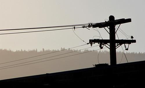 trees silhouette ridge hydro wires powerline utilitypole