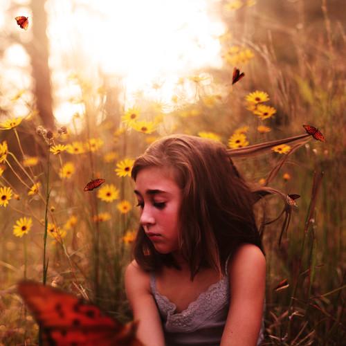 [フリー画像素材] 人物, 子供 - 女の子, 人物 - 草原, 蝶・チョウ, アメリカ人 ID:201210090600
