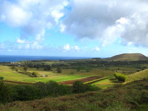 Vista general de Isla de Pascua desde Puna Pau