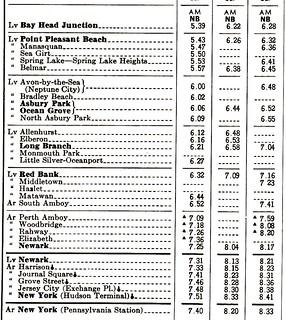PRR North Jersey Coast 1965 Schedule