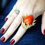 vintage orange egg cocktail ring from tag sale in Plainview