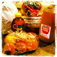 My haul from Apple Acres today = one #happy girl!  #honeycrisp #apples #peaches #ciderdonuts #unpasteurized #cider #honey