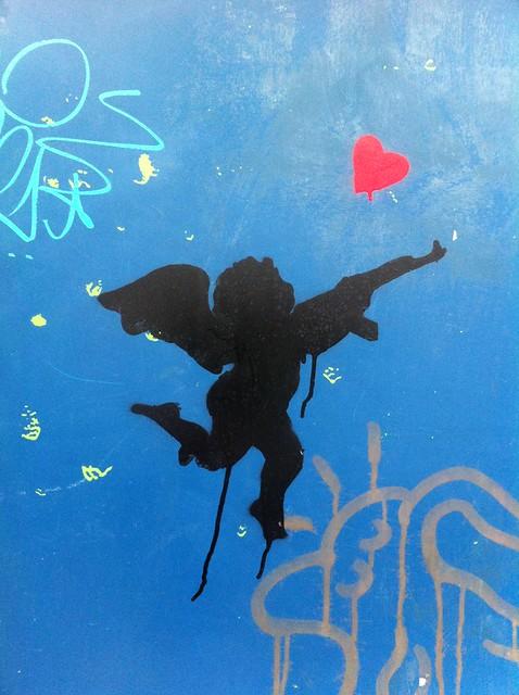 Graffiti Stencil Of Cupid- Raw