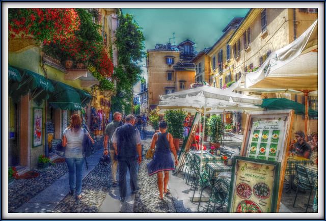 Walking through an alley of Orta San Giulio (Italy)