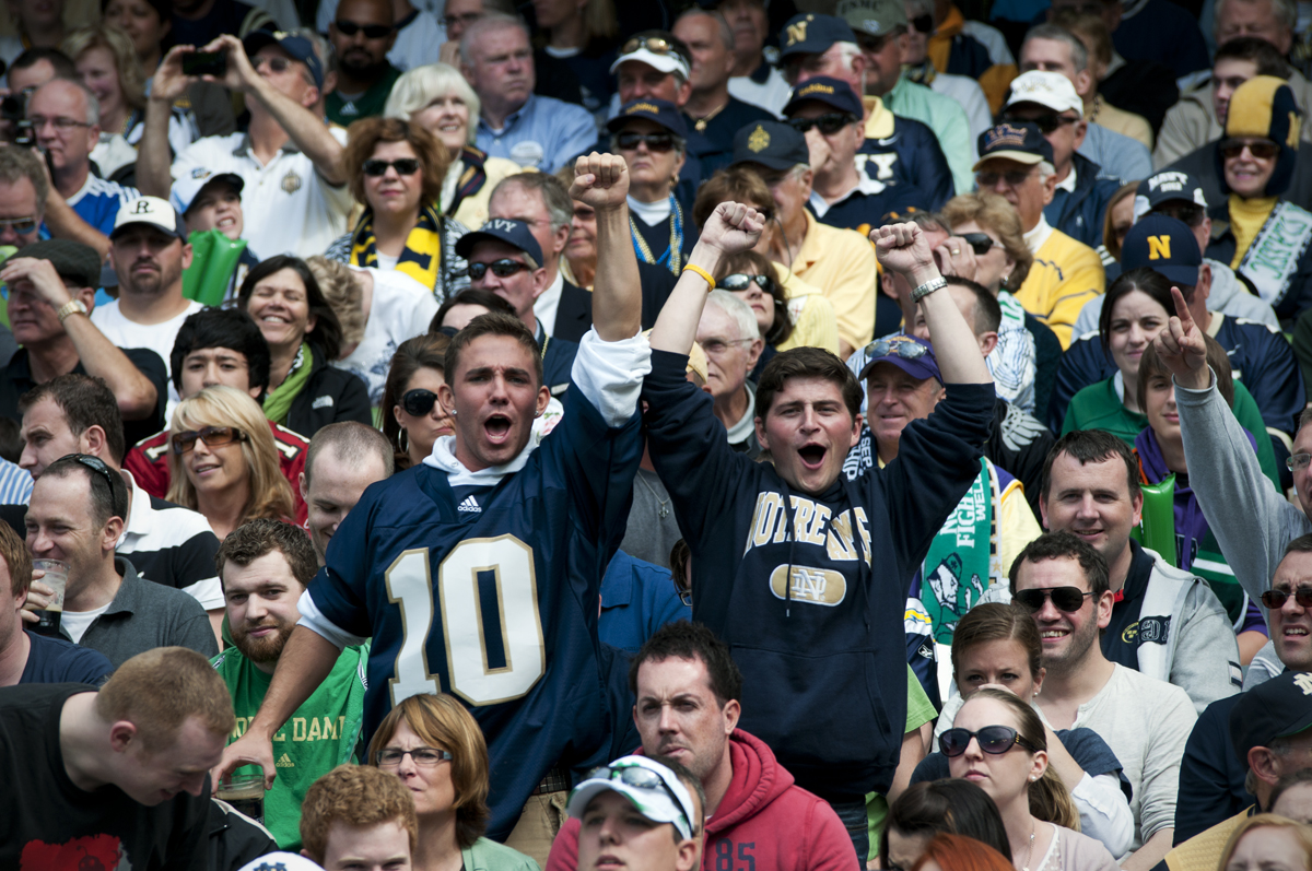 Notre Dame fans before a sea of Navy fans.  See if you can guess which Navy fan in this shot is my favorite.