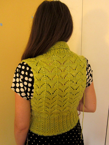 Chartreuse Georgina cardigan progress - back
