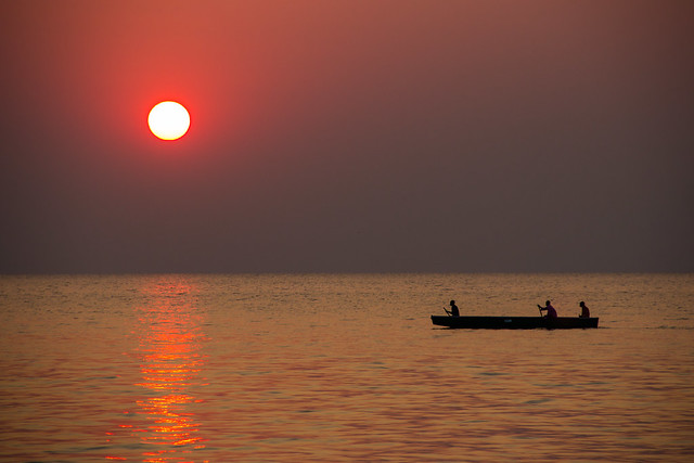 Sunset over Samfya Lake