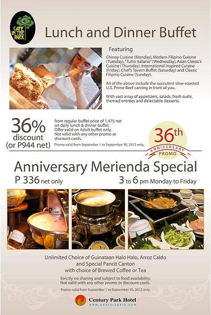 Lunch and Dinner Buffet and Anniversary Merienda Special
