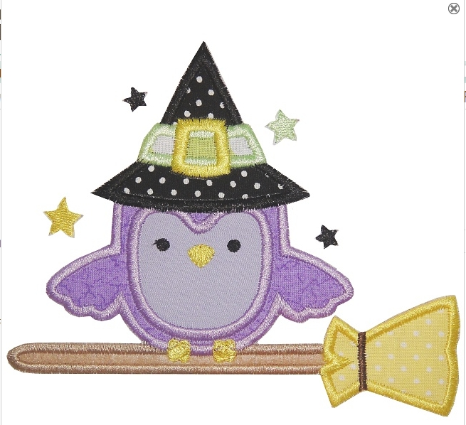 Owl on broom applique