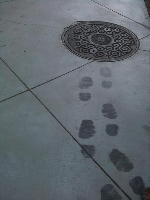 CHUD tracks on the sidewalk