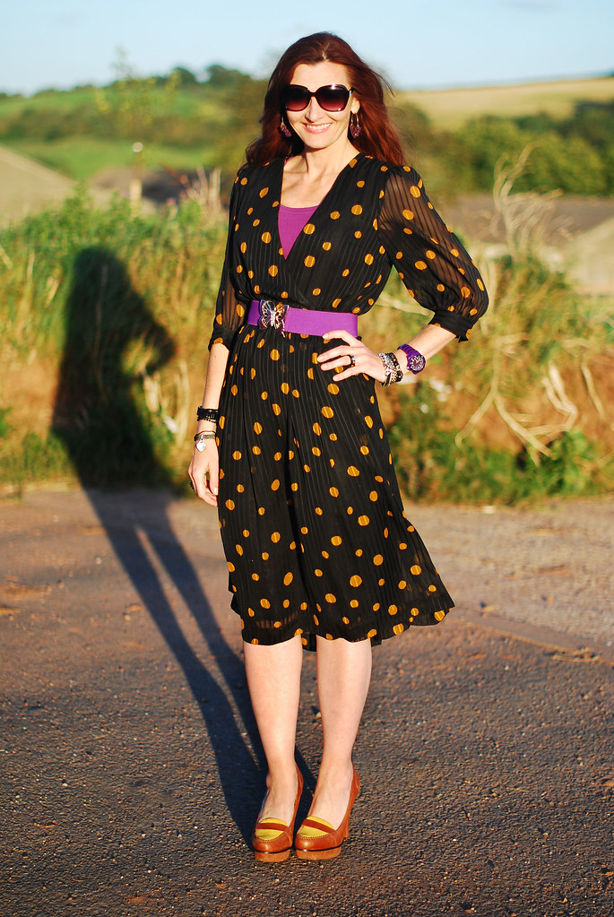 Vintage Black and Mustard Polka Dot Dress