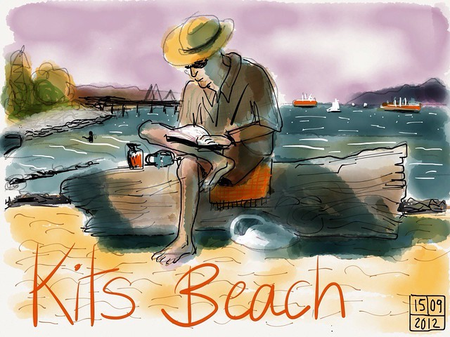 "Kits Beach, Vancouver, drawn on iPad with ""Paper"" app"