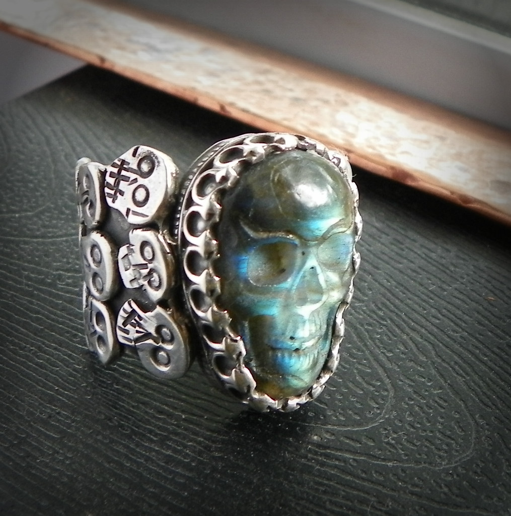 The Morrigans Harvest , Samhain festival todays Halloween or Native american day of the dead Labradorite Skull ring with Rainbow moonstone and raven with Hidden pentacle and copper moon