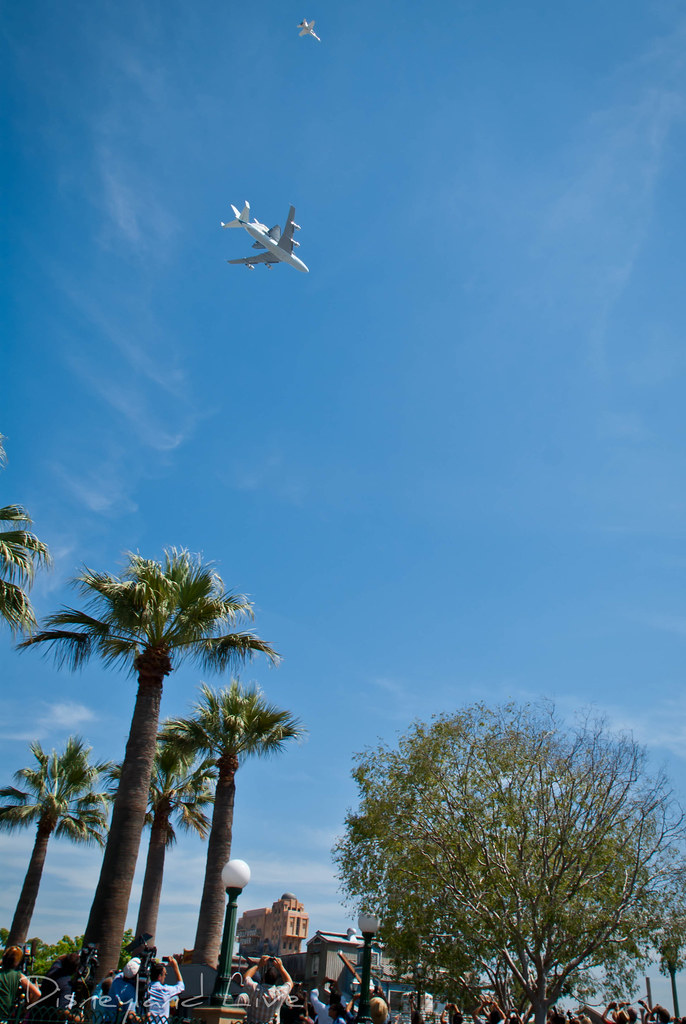 Space Shuttle Endeavour over Disneyland & Disney California Adventure