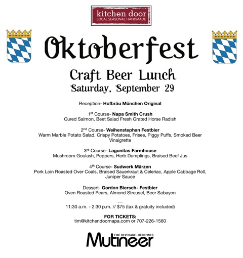 Kitchen Door Oktoberfest Menu