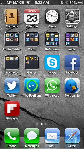 Home screen with 5 rows of icons