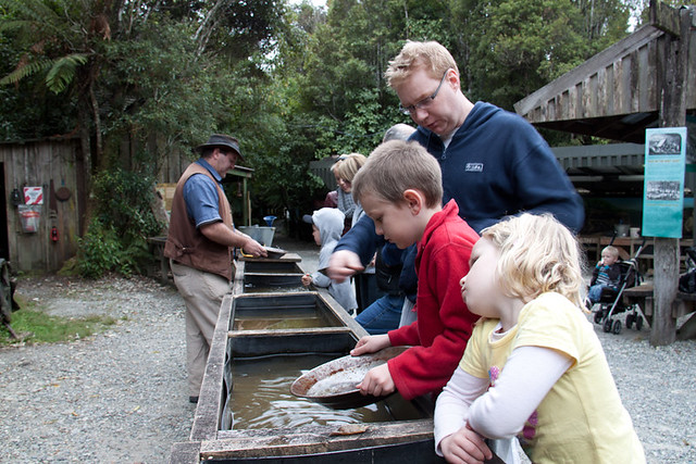 Gold panning shantytown