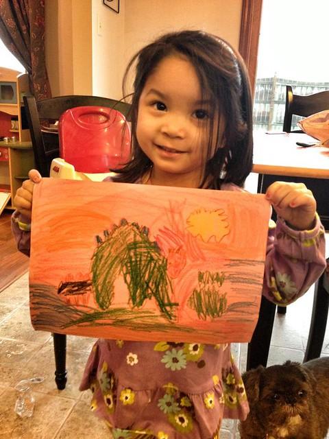 """Mommy, I drew you a dinosaur."""