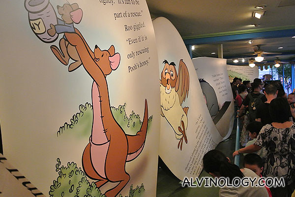 The queue was long, but thankfully, there are large story book panels like these to keep Asher entertained along the queue
