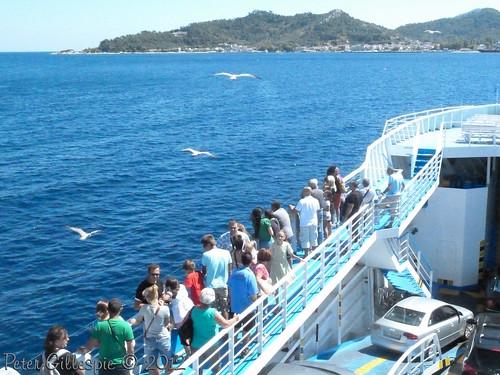people water ferry boat seagull greece thassos thasos makedonia thraki