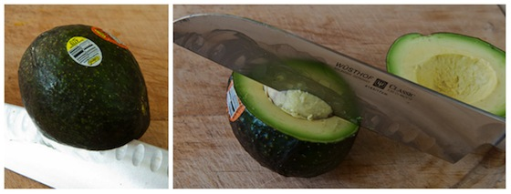 removing seed from avocado half