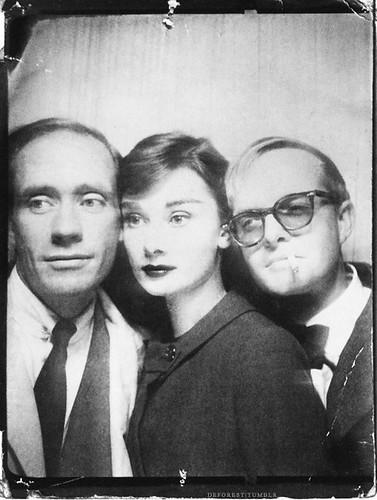 Mel Ferrer, Audrey Hepburn, and Truman Capote.