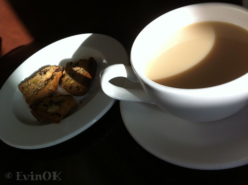 Tea and pistachio biscotti at Electric Cork