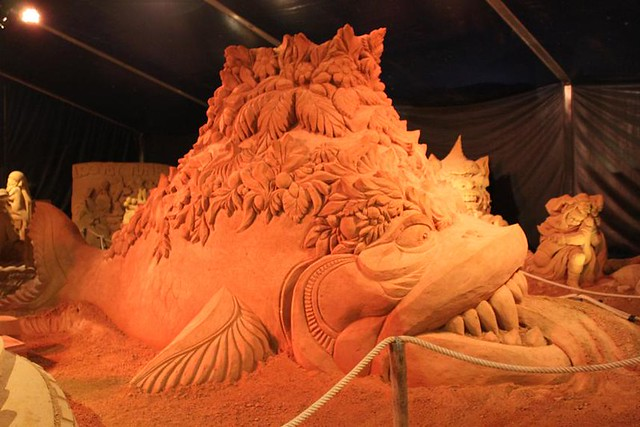 giand fish made of sand at Sand Sculpture Festival