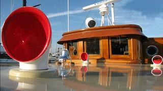 1928 Fantail Motor Yacht 'Portola' red vent stacks!