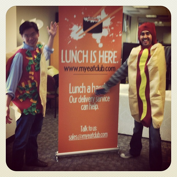 Today the founders dressed as food.