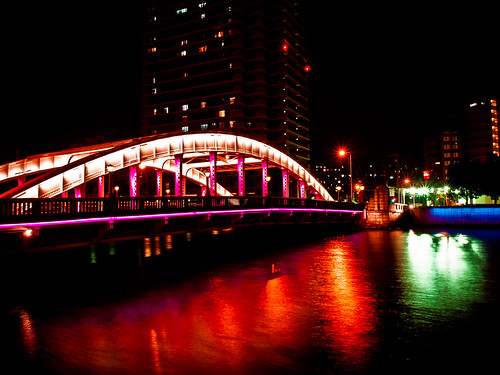 bridge light reflection building japan architecture night river lumix landscapes osaka nightview gf2