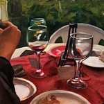 Tabletop with Wine Glasses; oil on canvas; 24 x 36 in, 2015