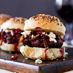 Port Sliders with Goat Cheese and Caramelized Onions