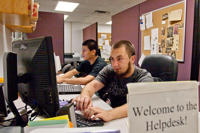 Students work the Help Desk in Information Technology Services.