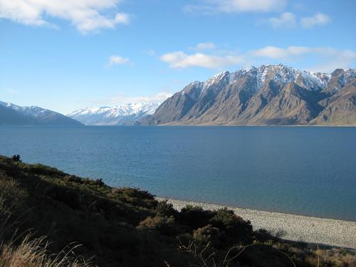 newzealand panorama mountain lake holiday snow outdoor otago hawea