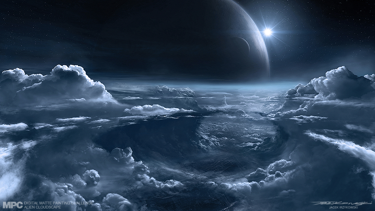 Art of jacek irzykowski mpc alien cloudscape final for Space matte painting