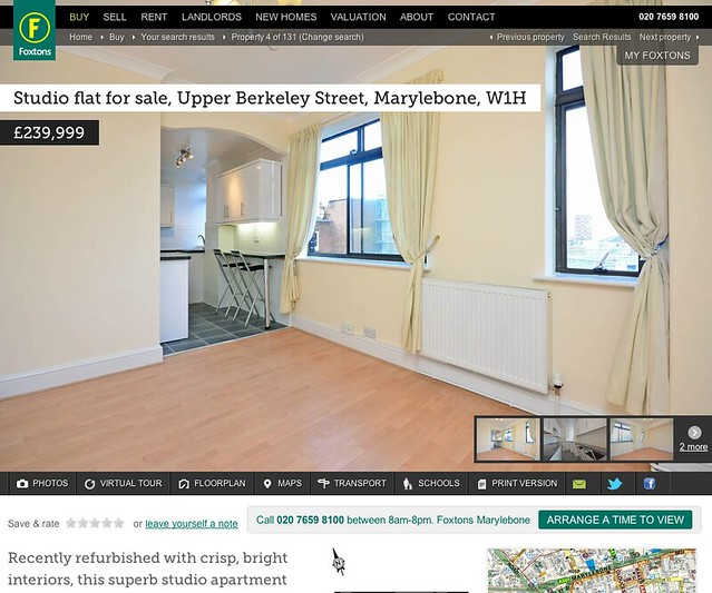 Studio flat for sale on the Foxtons website