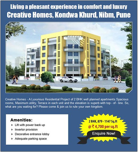 Creative Homes - A Luxurious Residential Project of 2 BHK apartments at Kondhwa Khurd, NIBM, Pune by jungle_concrete