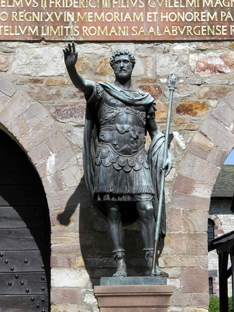 Statue of Antoninus Pius (copy) at the entrance of Saalburg, Saalburg Roman Fort, Limes Germanicus, Germania (Germany)