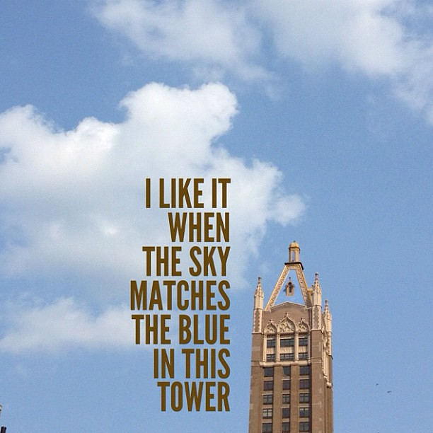 I like it when the sky matches the blue in this tower