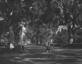 Looking up College Avenue past Fourth in 1957