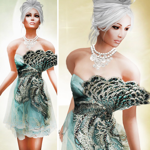 {Meghindo's} ~ Turquise Peacock Satin Dress ~ / PoSEsioN Set Pose