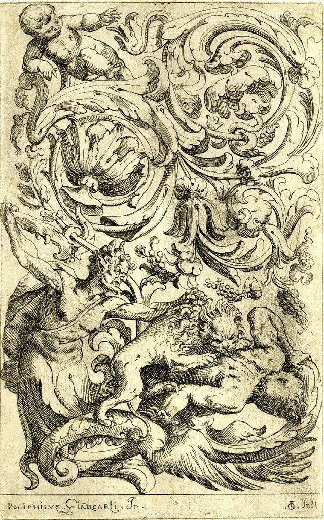 ornamental grotesque print featuring lion, foliage and beasts